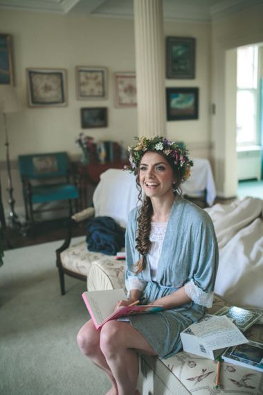 Wedding Morning Bridal Preparations with Bride in Flower Crown and Braided Updo