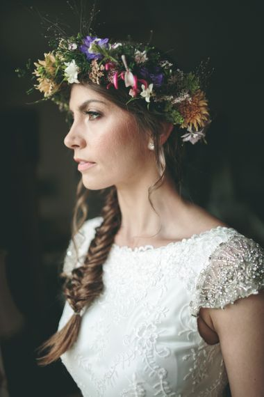 Beautiful Bride with Braided Updo and Flower Crown