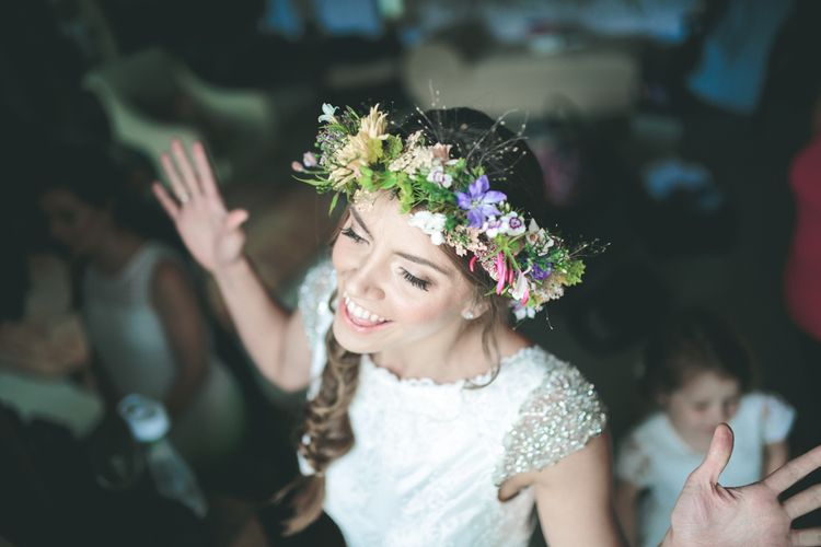 Happy Bride with Braid and Wildflower Crown