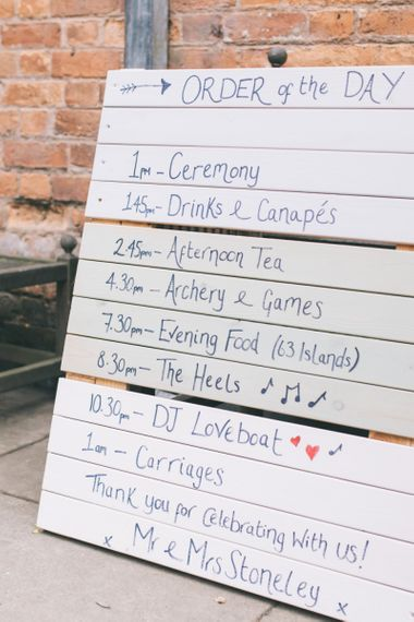 Wooden Palette Order of The Day Wedding Sign