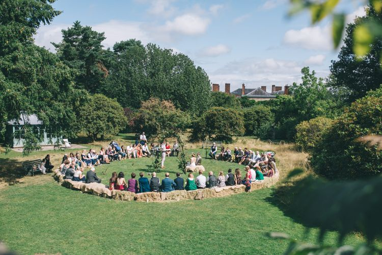 Outdoor Wedding Ceremony with Circular Hay bale seating