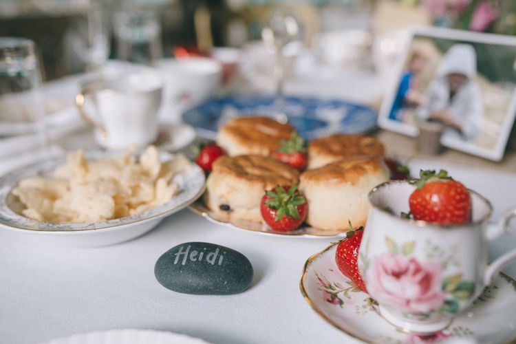 Afternoon Tea Wedding Breakfast with Pebble Name Place Setting