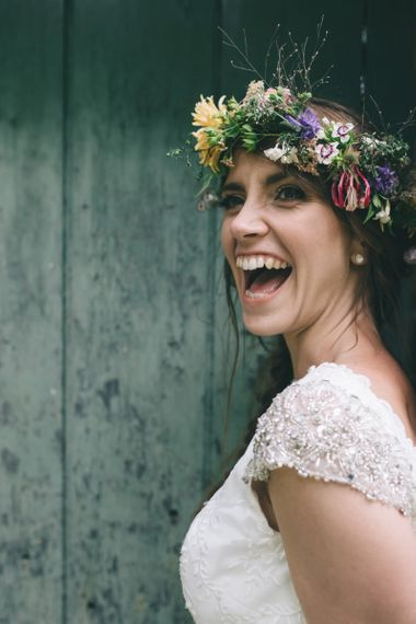 Smiling Bride in Lusan Mandongus Wedding Dress and Flower Crown
