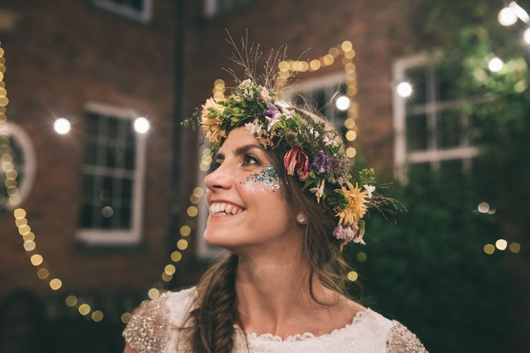 Beautiful Bride in Flower Crown with Glitter Face Paint