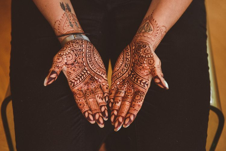 Indian Bridal Henna | Fusion Rustic Indian Country Wedding at The Green Cornwall | Matt Penberthy Photography