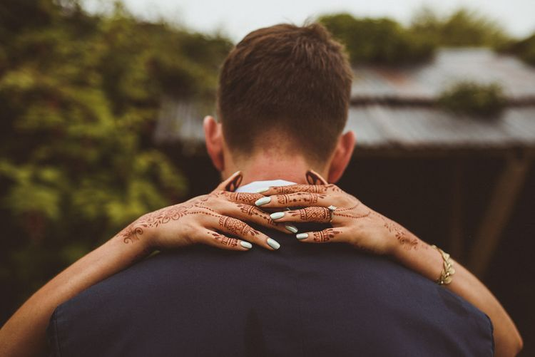 Indian Henna & Nail Art | Groom in Navy Reiss Suit | Fusion Rustic Indian Country Wedding at The Green Cornwall | Matt Penberthy Photography