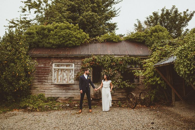 Bride in Gatsby Lady Gown | Groom in Navy Reiss Suit | Fusion Rustic Indian Country Wedding at The Green Cornwall | Matt Penberthy Photography