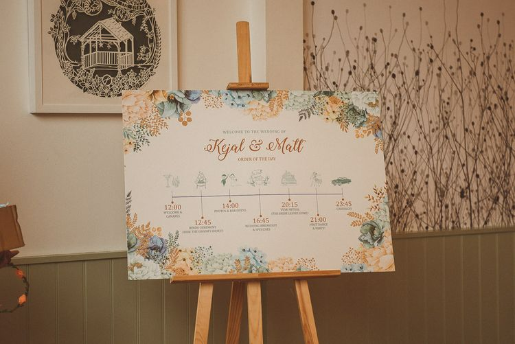 Order of The Day with Peach & Blue Floral Illustration | Fusion Rustic Indian Country Wedding at The Green Cornwall | Matt Penberthy Photography