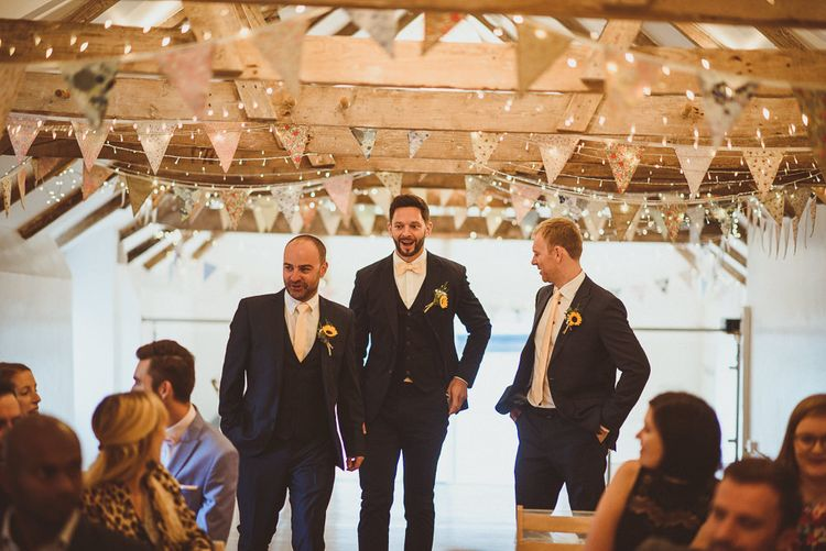 Groom in Navy Reiss Suit | Fusion Rustic Indian Country Wedding at The Green Cornwall | Matt Penberthy Photography