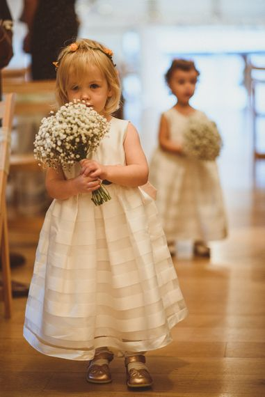 Flower Girl with Gypsophila Bouquet | Fusion Rustic Indian Country Wedding at The Green Cornwall | Matt Penberthy Photography