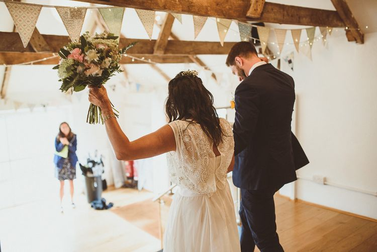 Wedding Ceremony | Bride in Gatsby Lady Gown | Groom in Navy Reiss Suit | Fusion Rustic Indian Country Wedding at The Green Cornwall | Matt Penberthy Photography
