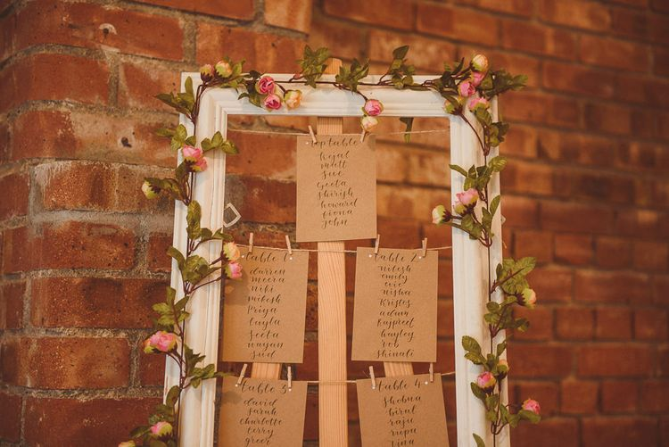 DIY Frame Table Plan with Floral Garland | Fusion Rustic Indian Country Wedding at The Green Cornwall | Matt Penberthy Photography