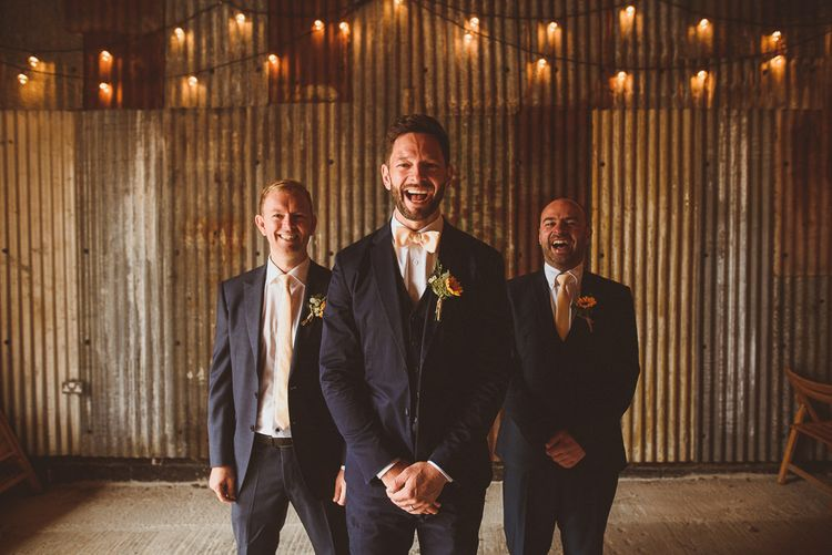 Groomsmen in Navy Reiss Suits | Fusion Rustic Indian Country Wedding at The Green Cornwall | Matt Penberthy Photography