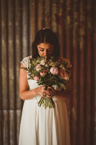 Bride in Gatsby Lady Gown | Romantic Rose Bouquet | Fusion Rustic Indian Country Wedding at The Green Cornwall | Matt Penberthy Photography