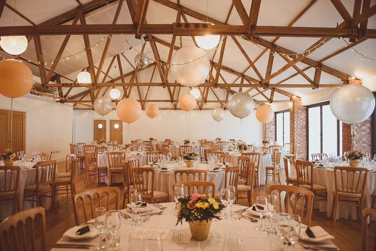 Rustic Barn Reception with Plant Pot Centrepieces & Giant Balloons | Fusion Rustic Indian Country Wedding at The Green Cornwall | Matt Penberthy Photography