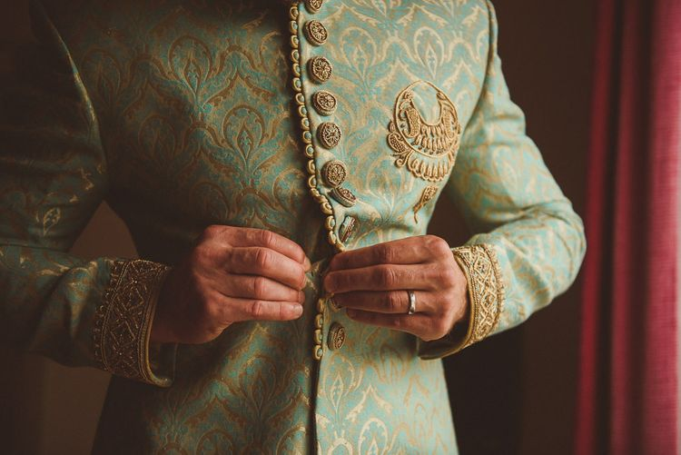 Groom's Indian Suit  | Fusion Rustic Indian Country Wedding at The Green Cornwall | Matt Penberthy Photography