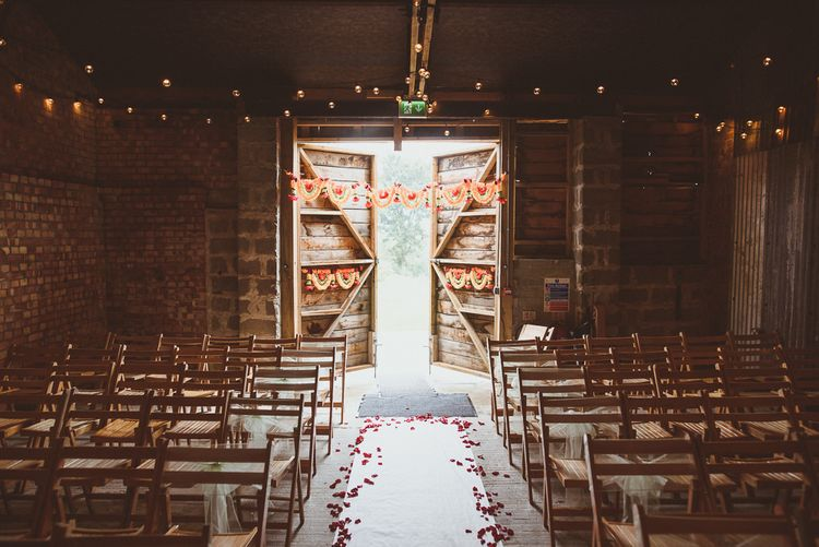 Rustic Barn Indian Ceremony with Festoons, Petals & Colourful Flowers | Fusion Rustic Indian Country Wedding at The Green Cornwall | Matt Penberthy Photography
