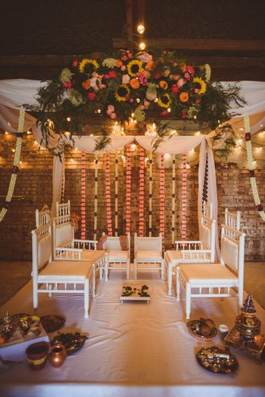 Mandap Indian Altar with Colour Floral Arrangement | Fusion Rustic Indian Country Wedding at The Green Cornwall | Matt Penberthy Photography