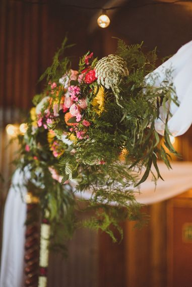 Colourful Floral Arrangement | Fusion Rustic Indian Country Wedding at The Green Cornwall | Matt Penberthy Photography