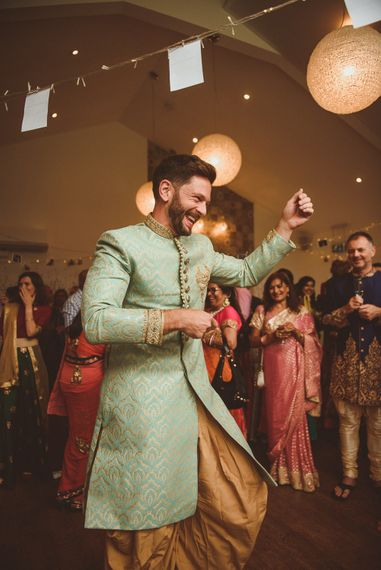 Groom in Traditional Indian Dress | Fusion Rustic Indian Country Wedding at The Green Cornwall | Matt Penberthy Photography