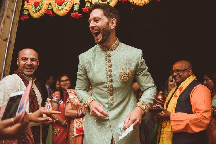 Groom in Traditional Indian Attire | Fusion Rustic Indian Country Wedding at The Green Cornwall | Matt Penberthy Photography