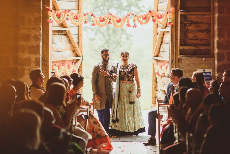 Wedding Ceremony Bridal Entrance in Traditional Indian Dress | Fusion Rustic Indian Country Wedding at The Green Cornwall | Matt Penberthy Photography