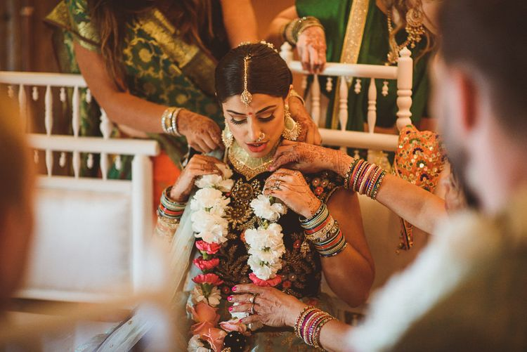Bride in Traditional Indian Dress | Fusion Rustic Indian Country Wedding at The Green Cornwall | Matt Penberthy Photography