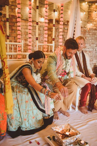 Traditional Indian Wedding Ceremony | Fusion Rustic Indian Country Wedding at The Green Cornwall | Matt Penberthy Photography