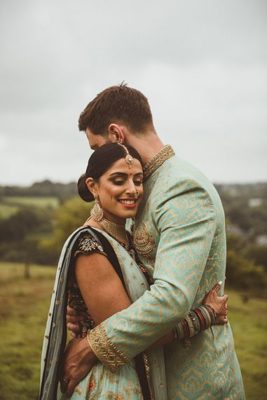 Bride & Groom in Traditional Indian Wedding Attire | Fusion Rustic Indian Country Wedding at The Green Cornwall | Matt Penberthy Photography