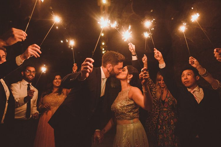 Bride & Groom Sparkler Moment | Fusion Rustic Indian Country Wedding at The Green Cornwall | Matt Penberthy Photography