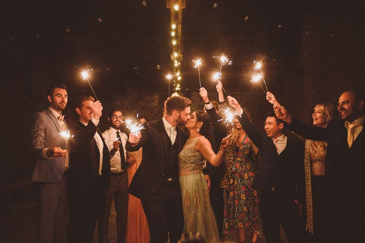 Bride & Groom Sparkler Exit | Fusion Rustic Indian Country Wedding at The Green Cornwall | Matt Penberthy Photography