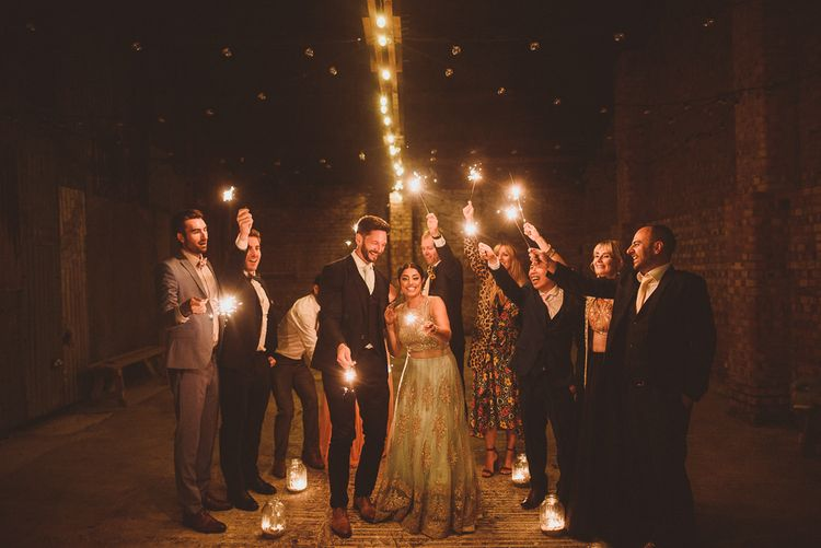 Bride & Groom Sparkler Tunnel | Fusion Rustic Indian Country Wedding at The Green Cornwall | Matt Penberthy Photography