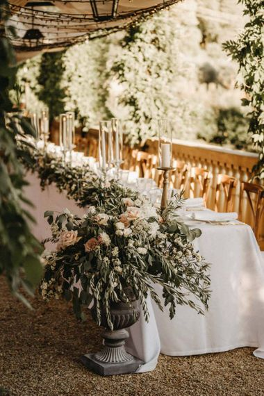 Blush & white wedding flowers for Villa Le Fontanelle wedding table