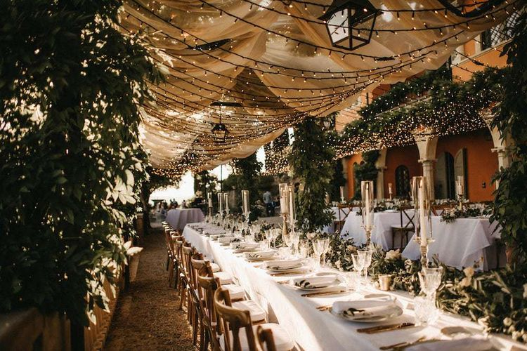 Fairy light canopy at Villa Le Fontanelle