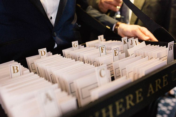 Library Filing Card Table Plan // London Wedding Venue For 300 People Trinity Buoy Wharf With Bride In Suzanne Neville And Images From Paul Joseph Photography Film This Modern Revelry