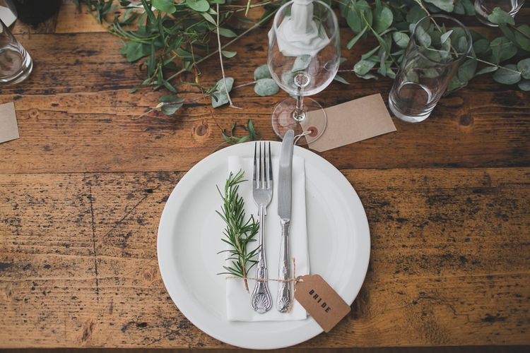 Simple Place Setting For Wedding // Rainy Festival Wedding In East Sussex With Bride In Rime Arodaky And Black Biker Boots And Bridesmaids In White Dresses With Silent Disco Party Images By Jesus Caballero