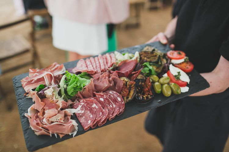 Antipasti Platter For Wedding // Rainy Festival Wedding In East Sussex With Bride In Rime Arodaky And Black Biker Boots And Bridesmaids In White Dresses With Silent Disco Party Images By Jesus Caballero