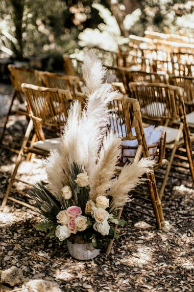 Wedding Ceremony Flowers with Pink and Cream Roses and Pampas Grass