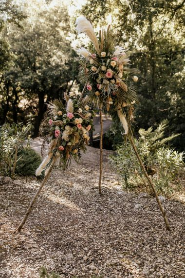 Naked Tipi Altar with Blush Pink and Cream Roses and Pampas Grass Floral Decor