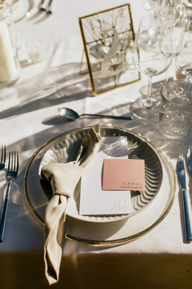 Contemporary Place Setting with Grey Platter and Blush Name Place Tag