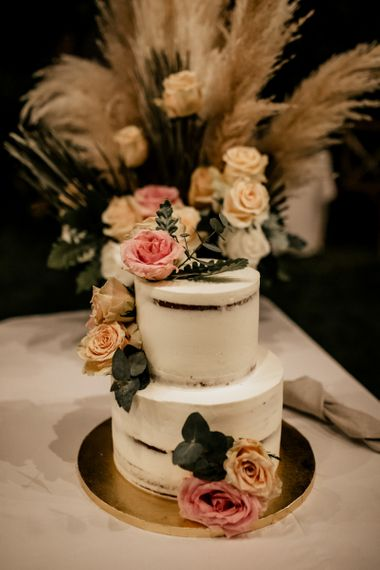 Two Tier Semi Naked Wedding Cake with Fresh Flowers