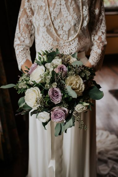 Traditional Cream and Purple Rose Wedding Bouquet