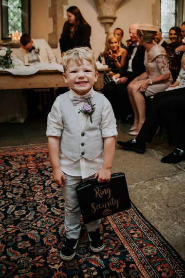 Little Boy Ring Bearer in Bow Tie and Waistcoat