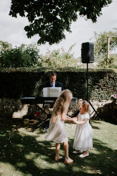Little Wedding Guests Dancing at the Drinks Reception