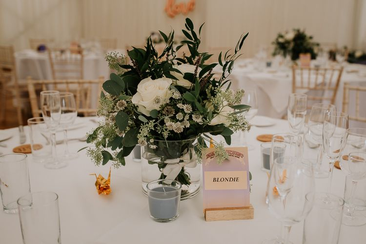 Table Names and Floral Centrepiece Wedding Decor
