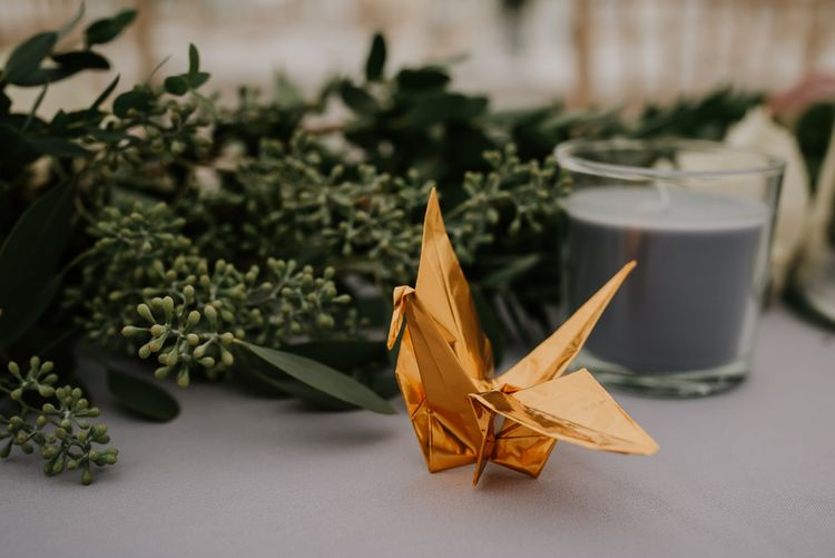 Gold Foil Origami Paper Crane Wedding Decor