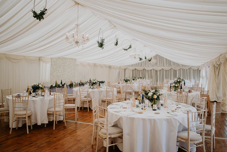 Marquee Wedding Reception with Hanging Hoop Decor