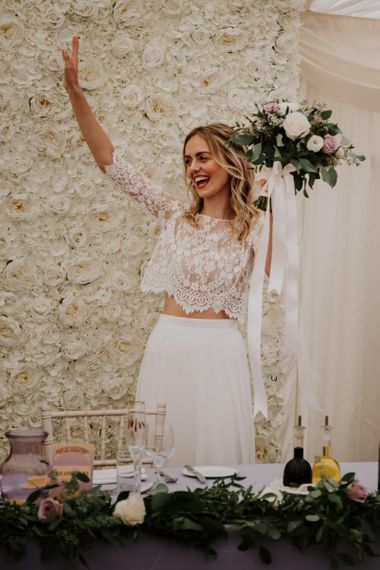 Bride in Lace Top and Plain Skirt Wendy Makin Bridal Separates