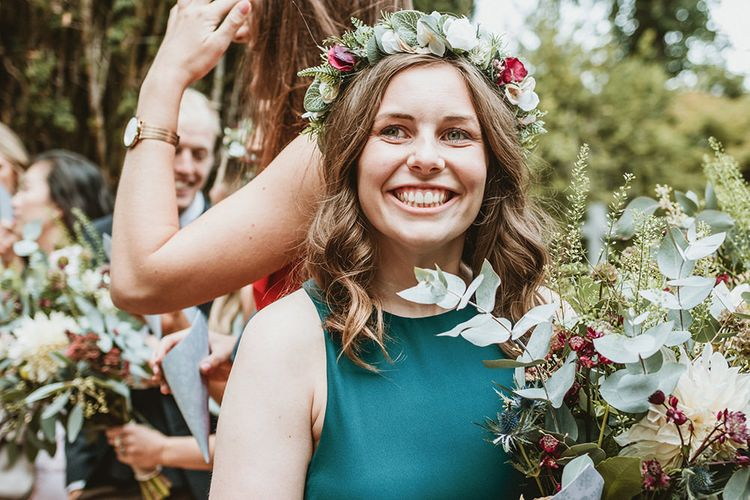 Bridesmaid in Green Dress and Flower Crown