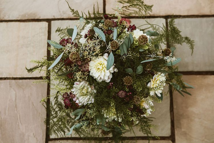 Bridal Bouquet with Wild Flowers and Foliage
